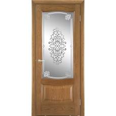 Межкомнатная дверь Мебель-Массив Севилья Светлый дуб без патины полотно с остеклением витраж заливной