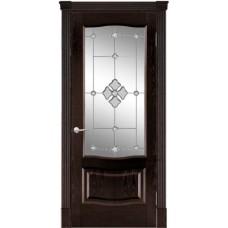 Межкомнатная дверь Мебель-Массив Севилья Темный дуб без патины полотно с остеклением витраж с гравировкой