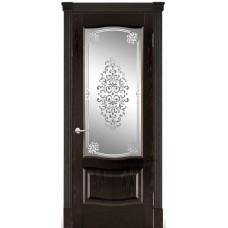 Межкомнатная дверь Мебель-Массив Севилья Темный дуб без патины полотно с остеклением витраж заливной