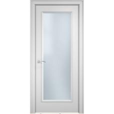 Межкомнатная дверь Мебель-Массив Сицилия 1 Эмаль белая витраж с гравировкой