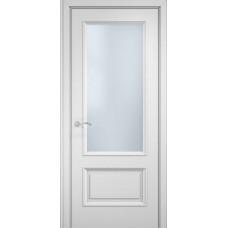 Межкомнатная дверь Мебель-Массив Сицилия 2 Эмаль белая витраж с гравировкой