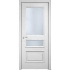 Межкомнатная дверь Мебель-Массив Сицилия 3 Эмаль белая витраж с гравировкой