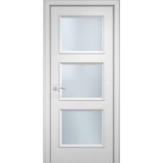 Межкомнатная дверь Мебель-Массив Сицилия 4 Эмаль белая витраж с гравировкой