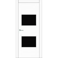 Межкомнатная дверь Мебель-Массив Толедо Эмаль белая полотно с остеклением (стекло черное)