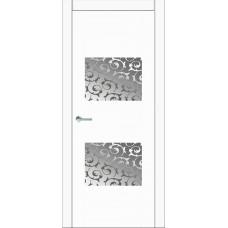 Межкомнатная дверь Мебель-Массив Толедо Эмаль белая полотно с остеклением витраж пескоструй