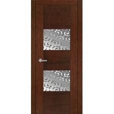 Межкомнатная дверь Мебель-Массив Толедо Коньячный дуб полотно с остеклением витраж пескоструй