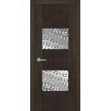 Межкомнатная дверь Мебель-Массив Толедо Пепельный дуб полотно с остеклением витраж пескоструй
