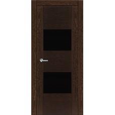 Межкомнатная дверь Мебель-Массив Толедо Темный дуб полотно с остеклением (стекло черное)