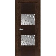 Межкомнатная дверь Мебель-Массив Толедо Темный дуб полотно с остеклением витраж пескоструй