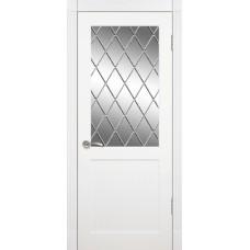 Межкомнатная дверь Мебель-Массив Тренто Эмаль белая полотно с остеклением витраж с гравировкой