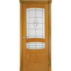 Межкомнатная дверь Мебель-Массив Валенсия Африканский орех без патины полотно с остеклением витраж с фацетом