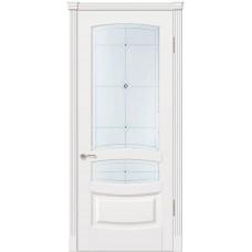 Межкомнатная дверь Мебель-Массив Валенсия Эмаль белая патина полотно с остеклением