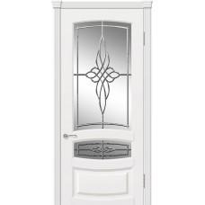 Межкомнатная дверь Мебель-Массив Валенсия Эмаль белая патина полотно с остеклением витраж пескоструй