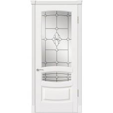 Межкомнатная дверь Мебель-Массив Валенсия Эмаль белая патина полотно с остеклением витраж с фацетом