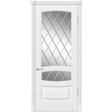 Межкомнатная дверь Мебель-Массив Валенсия Эмаль белая патина полотно с остеклением витраж