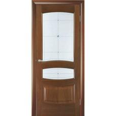 Межкомнатная дверь Мебель-Массив Валенсия Красное дерево без патины полотно с остеклением