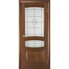 Межкомнатная дверь Мебель-Массив Валенсия Красное дерево без патины полотно с остеклением витраж с фацетом