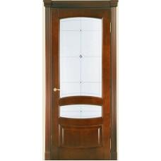 Межкомнатная дверь Мебель-Массив Валенсия Миланский орех без патины полотно с остеклением