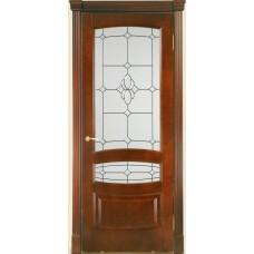 Межкомнатная дверь Мебель-Массив Валенсия Миланский орех без патины полотно с остеклением витраж с фацетом