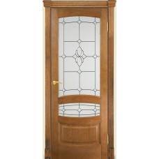 Межкомнатная дверь Мебель-Массив Валенсия Светлый дуб без патины полотно с остеклением витраж с фацетом