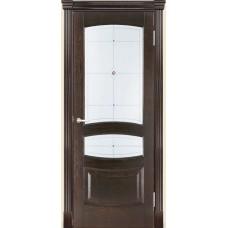 Межкомнатная дверь Мебель-Массив Валенсия Темный дуб дуб без патины полотно с остеклением