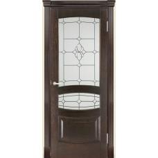 Межкомнатная дверь Мебель-Массив Валенсия Темный дуб дуб без патины полотно с остеклением витраж с фацетом