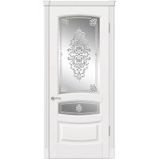 Межкомнатная дверь Мебель-Массив Валенсия Эмаль белая патина полотно с остеклением витраж заливной