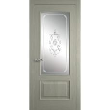Межкомнатная дверь Мебель-Массив Венеция Эмаль RAL 7044 без патины полотно с остеклением витраж