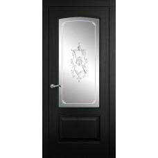 Межкомнатная дверь Мебель-Массив Венеция Эмаль RAL 9005 без патины полотно с остеклением витраж