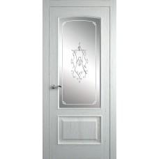 Межкомнатная дверь Мебель-Массив Венеция Эмаль RAL 9010 без патины полотно с остеклением витраж