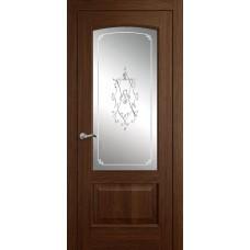 Межкомнатная дверь Мебель-Массив Венеция Коньячный дуб без патины полотно с остеклением витраж