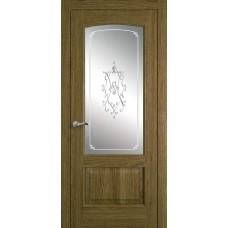Межкомнатная дверь Мебель-Массив Венеция Светлый дуб без патины полотно с остеклением витраж