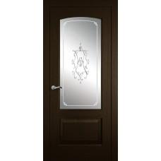 Межкомнатная дверь Мебель-Массив Венеция Темный дуб без патины полотно с остеклением витраж