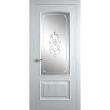 Межкомнатная дверь Мебель-Массив Венеция Эмаль белая на дубе без патины полотно с остеклением витраж