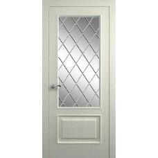 Межкомнатная дверь Мебель-Массив Верона Эмаль RAL 1013 без патины полотно с остеклением витраж