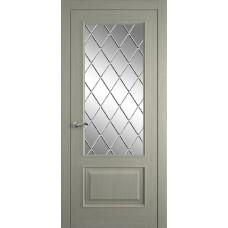 Межкомнатная дверь Мебель-Массив Верона Эмаль RAL 7044 без патины полотно с остеклением витраж