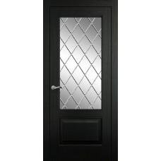 Межкомнатная дверь Мебель-Массив Верона Эмаль RAL 9005 без патины полотно с остеклением витраж