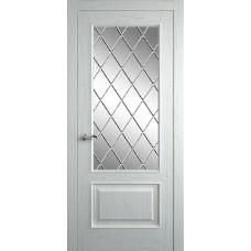 Межкомнатная дверь Мебель-Массив Верона Эмаль RAL 9010 без патины полотно с остеклением витраж