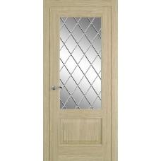 Межкомнатная дверь Мебель-Массив Верона Шампань дуб без патины полотно с остеклением витраж