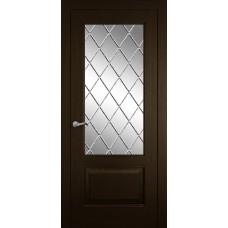 Межкомнатная дверь Мебель-Массив Верона Темный дуб без патины полотно с остеклением витраж