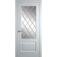 Межкомнатная дверь Мебель-Массив Верона Эмаль белая патина полотно с остеклением витраж