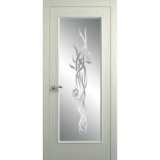 Межкомнатная дверь Мебель-Массив Виченца Эмаль RAL 1013 без патины полотно с остеклением витраж пескоструй
