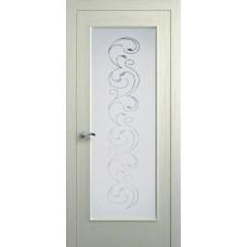 Межкомнатная дверь Мебель-Массив Виченца Эмаль RAL 1013 без патины полотно с остеклением витраж заливной