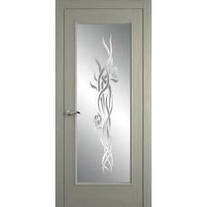 Межкомнатная дверь Мебель-Массив Виченца Эмаль RAL 7044 без патины полотно с остеклением витраж пескоструй