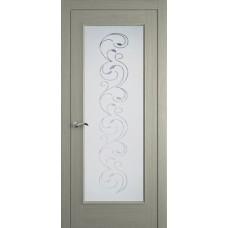 Межкомнатная дверь Мебель-Массив Виченца Эмаль RAL 7044 без патины полотно с остеклением витраж заливной