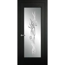 Межкомнатная дверь Мебель-Массив Виченца Эмаль RAL 9005 без патины полотно с остеклением витраж пескоструй