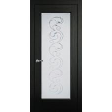 Межкомнатная дверь Мебель-Массив Виченца Эмаль RAL 9005 без патины полотно с остеклением витраж заливной