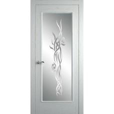 Межкомнатная дверь Мебель-Массив Виченца Эмаль RAL 9010 без патины полотно с остеклением витраж пескоструй