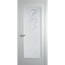 Межкомнатная дверь Мебель-Массив Виченца Эмаль RAL 9010 без патины полотно с остеклением витраж заливной