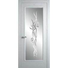 Межкомнатная дверь Мебель-Массив Виченца Эмаль белая патина полотно с остеклением витраж пескоструй